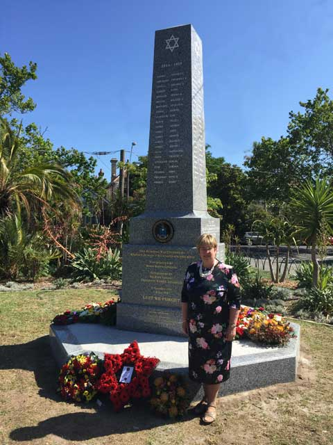 Judy Landau with New Victorian Jewish WW1 and WW2 Memorial